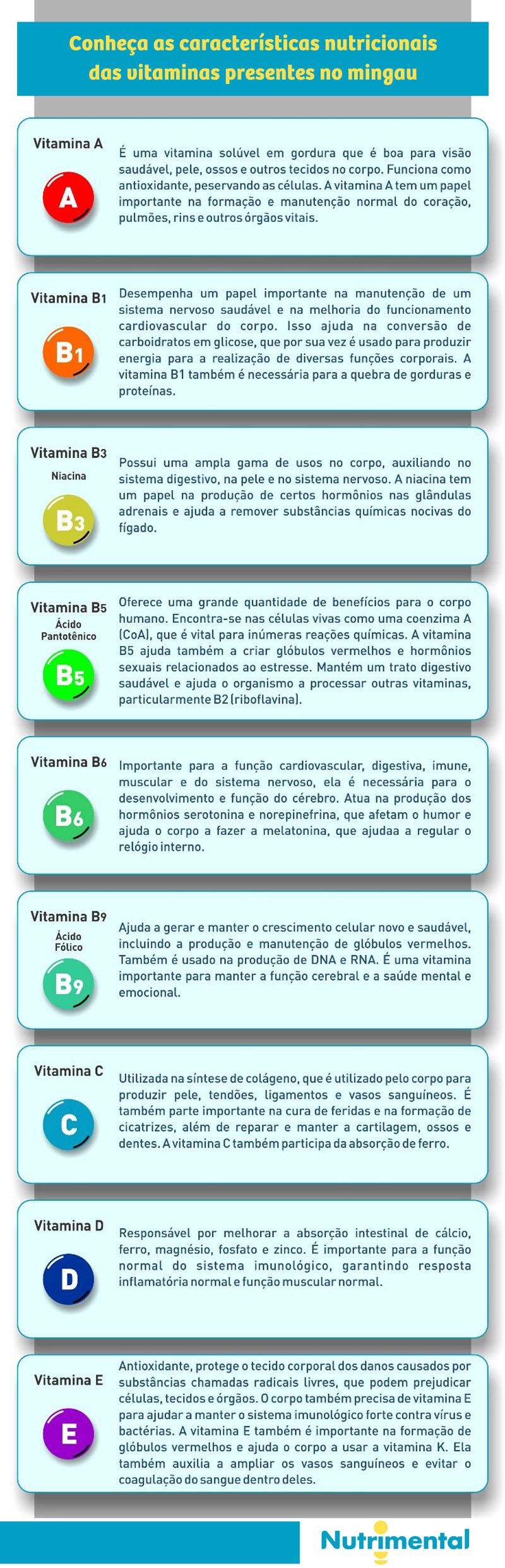 Conheça as características nutricionais das vitaminas presentes no mingau