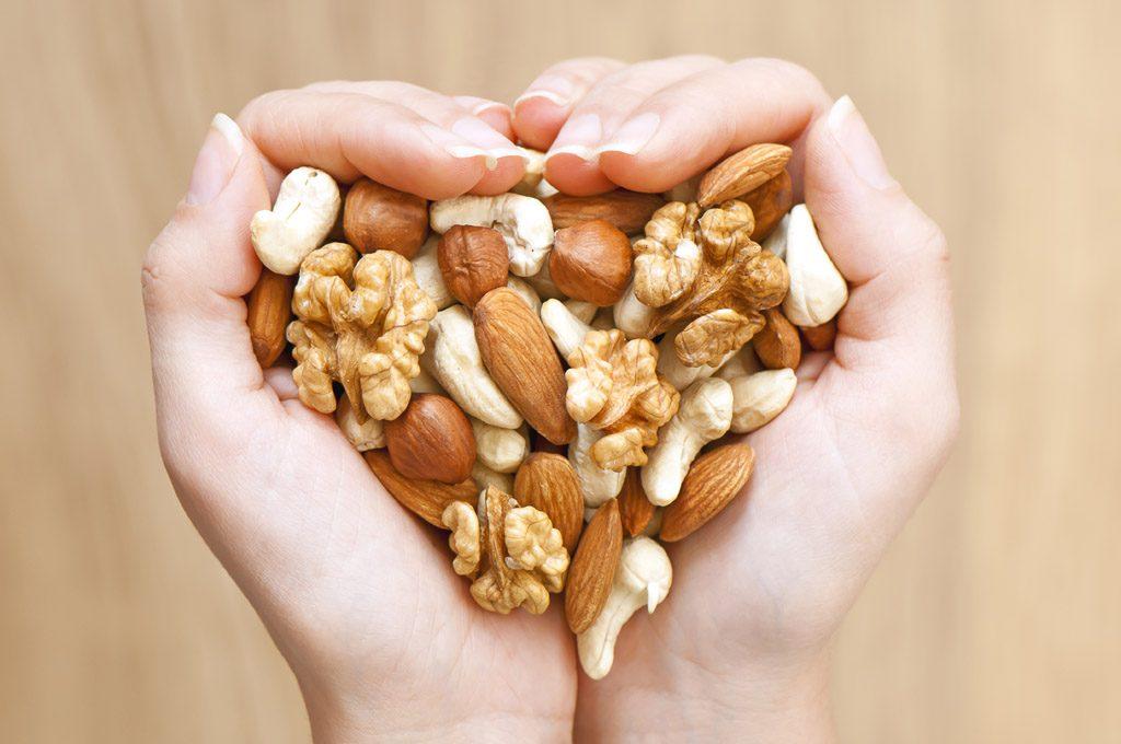 mãos-em-formato-de-coração-seguram-porção-generosa-de-oleaginosas-nuts-beneficios-proteínas-do-bem-nutry