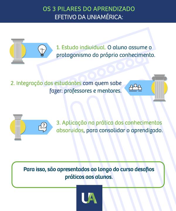infográfico representa pilares da uniamérica, estudo individual, integração dos estudantes com o mercado e aplicação prática